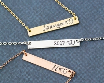 Cheer Gift Cheerleader Squad Necklace • Girls Team Gift Megaphone Handstamped Bar Necklace • Cheer Coach Dance Girls • Pep Squad QQQ