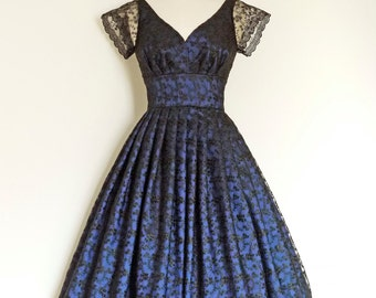 Midnight Blue Taffeta & Black Lace Sweetheart Prom Dress - made by Dig For Victory