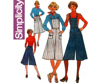 Simplicity 7890 70s Skirt & Gauchos Vintage Sewing Pattern Optional Suspenders Size 14 Waist 28 inches UNCUT Factory Folded