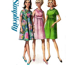 70s Maternity Trapeze Tent Dress Pattern Simplicity 7558 Vintage Sewing Pattern Size 12 Bust 34 inches UNCUT Factory Folded