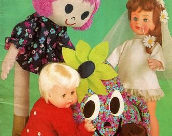 70s Vintage Dolls Clothes Patterns & Rag Dolls Book by Enid Gilchrist Clowns Retro Bride Dolls Baby Doll Clothes ORIGINALS NOT PDF