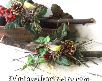 Love Birds. Rustic Branch Hangers. Winter Wedding Matching Branch Hangers. Yellow Chickadees. Nesting Birds. Rustic Woodland theme