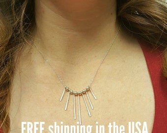 Sterling silver fringe necklace FREE SHIPPING mini bib spike