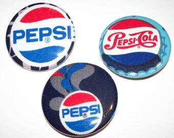 """Pepsi or Coca-Cola 1.5"""" Fabric covered Button Pins,Your Choice, Set of 3,Take the Pepsi vs Coke Challenge,Which One Will You Pick Pepsi Cola"""