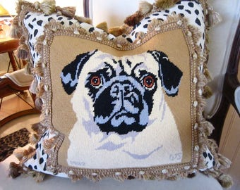 PUG Needlepoint ANTIQUE Fringe  20x20 Pillow Cover Best on The Web! So Chic! 1952 Wool