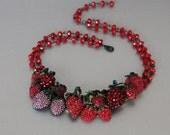 Summer Strawberries. Red Vintage Rhinestone Repurposed Statement Necklace