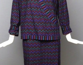 70s MISSONI signature knit zig zag print outfit w/ sweater and skirt separates designer vintage 44 large