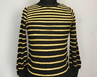 Metallic Gold Stripe Sweater