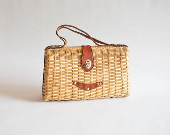 Vintage 1960s STRAW and leather handbag