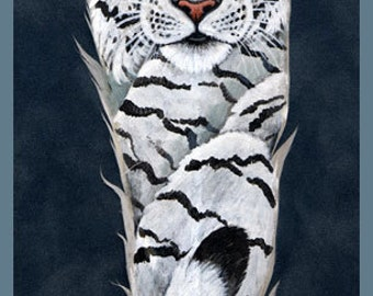 White Tiger Feather Print