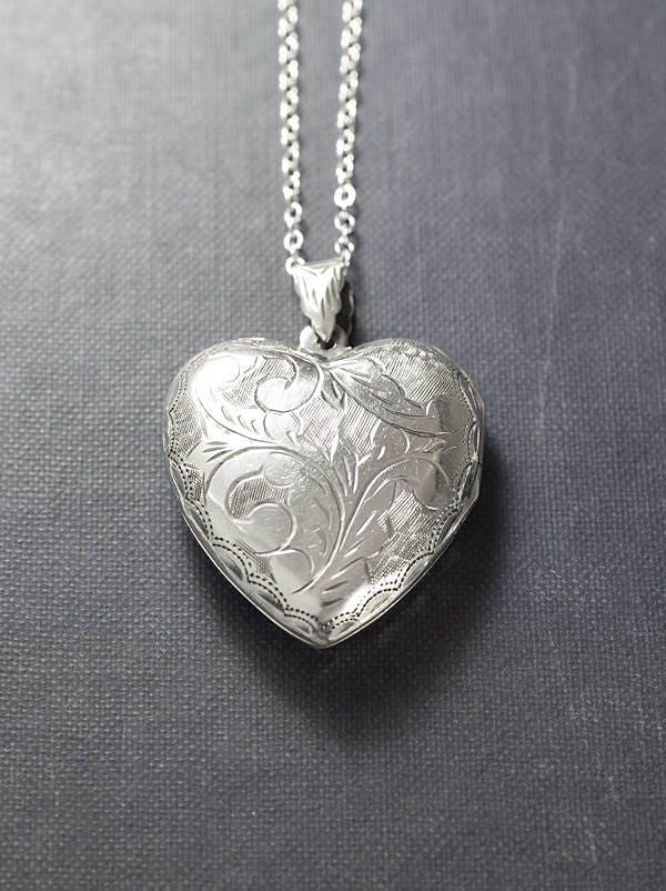Large sterling silver heart locket necklace scroll engraved large sterling silver heart locket necklace scroll engraved double side photo pendant design vintage love charm mozeypictures Images