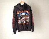 HARLEY DAVIDSON redding california BIKER 90s cotton sweatshirt black hoodie faded