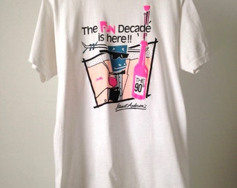 vintage PARTY 90s decade SWINGERS style white oversize FUN t-shirt kitsch top