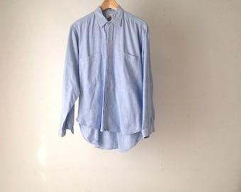 light blue CHAMBRAY 90s classic soft THIN long sleeve button up shirt