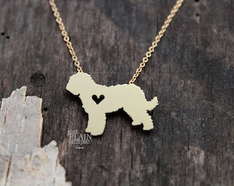 Goldendoodle necklace, Brass hand cut pendant, with heart, with 14K gold filled chain, tiny dog breed jewelry