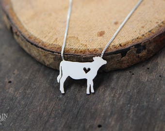 Jersey Cow necklace, sterling silver, tiny silver hand cut pendant with heart