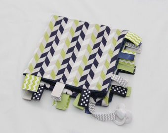 Baby Ribbon Tag Blanket - Minky Binky Blankie - Navy, Grey, and Green Chevrons - Personalization available