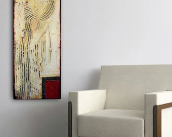 Textured Abstract on wood 12x36 painting urban art