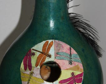 Ventilated gourd birdhouse with dragonflies