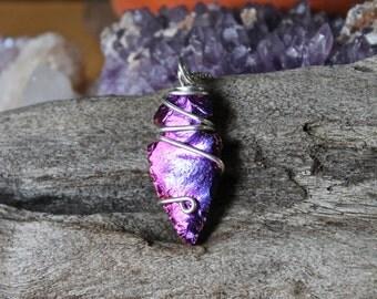 Rainbow Crystal Jewelry - Titanium Rainbow Arrowhead Necklace - Aura Arrowhead Pendant - Bohemian Necklace - Boho Jewelry - Hippie Jewelry