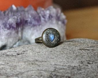 Moonstone Ring - ADJUSTABLE Gemstone Ring - Natural Rainbow Moonstone Jewelry - Bohemian Jewelry - Festival Fashion - Boho Chic - Stone Ring