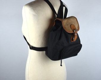 Black Nylon and Suede Backpack with Convertible Zipper Shoulder Straps