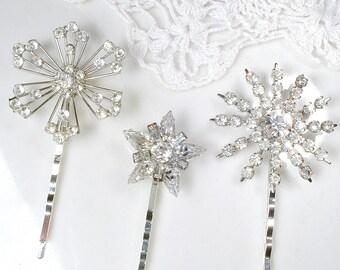 SNOWFLAKEs Vintage Crystal Rhinestone Bridal Hair Pin Set, 3 Lacy Silver OOAK Hair Clips Bridesmaids Gift, Art Deco Winter Wedding Accessory