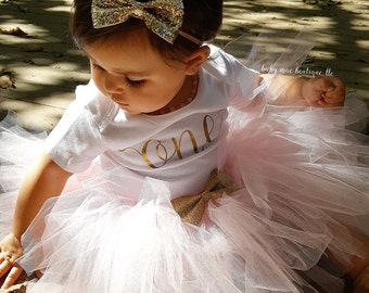 First Birthday Outfit Girl; One Birthday Tutu Outfit in Pink and Gold Glitter; Baby Girl First Birthday Outfit; Gerber ® Onesies ® brand