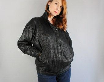 Women's Black Leather Bomber Jacket, Moto Jacket, Batwing, New Wave, Modern, Minimal, Spring, Fall, Club, Street Style, Size Medium