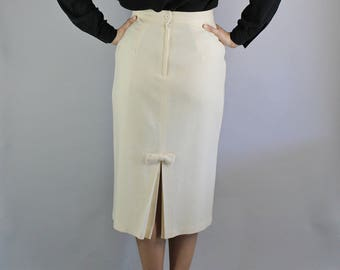 80s does 50s Cream Wool High Waisted Pencil Skirt, Pinup, Secretary, Marilyn, Audrey Hepburn, Mad Men, Office, Sexy Skirt, Size Small