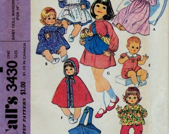 """McCall's 3430 Vintage Doll Clothes Sewing Pattern, Baby Doll Wardrobe and Carrier Pattern, 14"""" - 16"""" Doll Clothes Pattern, Uncut"""