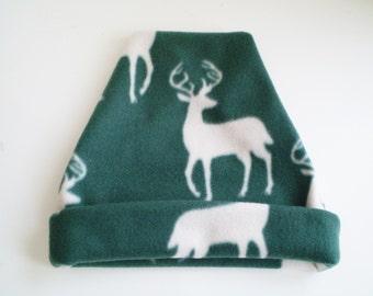 Fleece Deer Hat, Fleece Deer Cap, Fleece Green White Hat, Deer Hat, Deer Cap, Deer Slouchy Hat, Deer Slouchy Cap