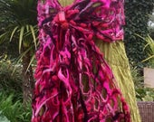 Cobweb felted wool shawl red pink burgundy maroon black wrap scarf  - textural lacy holey - fiber art to wear lagenlook - OOAK