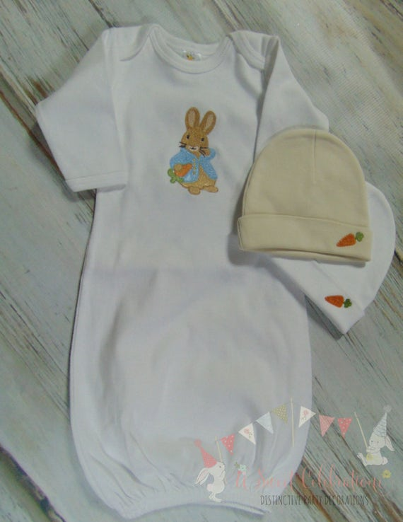 Peter Rabbit Beautrix Potter Layette Gown and Beanie Set- Easter ...