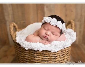 White On Time - baptism christening singed satin rose flower halo headband bow