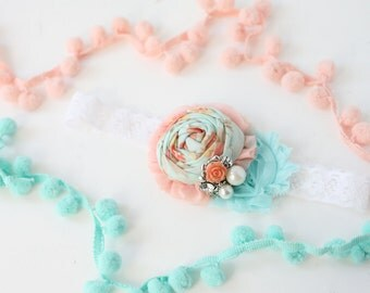 Best Get Blooming - coral aqua rosette chiffon flower spring headband bow