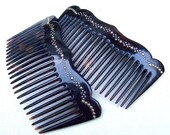 Matched pair Victorian side combs faux tortoiseshell gold inlay hair accessory hair jewelry decorative comb (A)