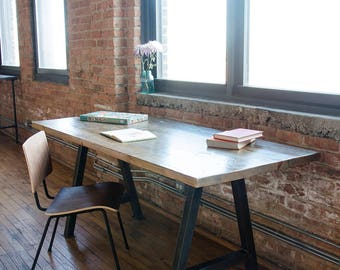 "Modern Harvest Wood Desk with reclaimed wood top and steel base, standard reclaimed wood top 48"" x 18"" x 30"" h-choose size, style, finish"