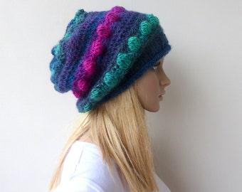 Pom Pom Beanie Womens Crochet Beanie Bobble knit hat Colorful knit hat