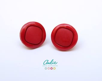Button Earrings - Red Plastic Button Earrings - Red Button Earrings - Stud earrings - Plastic Button accesories - Gift for girlfriends