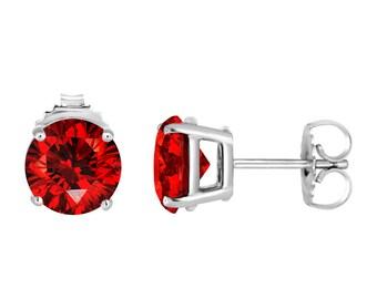 Platinum Fancy Vivid Red Diamond Stud Earrings 2.12 Carat Certified Handmade