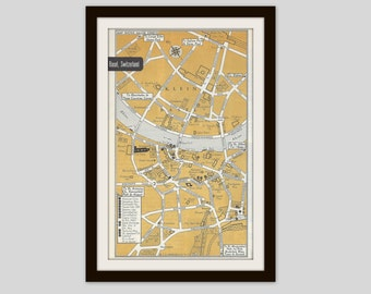 Basel Switzerland Map, City Map, Street Map, 1950s Europe, Bronze, Black and White, Retro Map Decor, City Street Grid, Historic Map