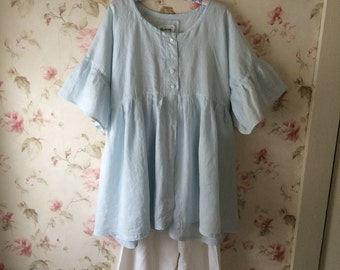 Washed Pale Blue Linen Dress Nightgown Robe Sweet Prairie Lagenlook Ready To Ship One Size