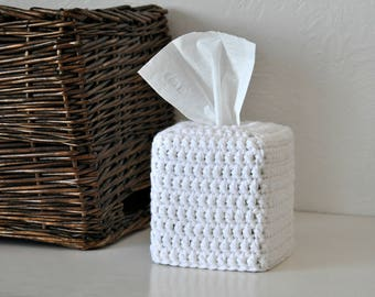 Bulky Knit Design White Tissue Box Cover Nursery Decoration Rustic Home Decor Custom Colors