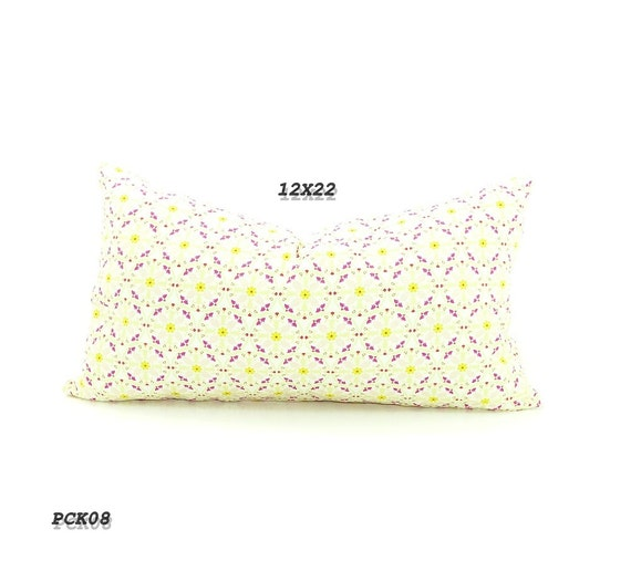 CLEARANCE SALE-Long Lumbar Pillow covers,  Bohemian Bedding, Pillow covers Mustard Yellow, Apple Green, Pink and Purple