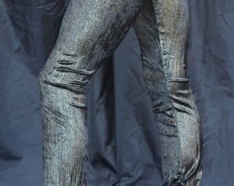 Black Gold Dust Velvet Leggings