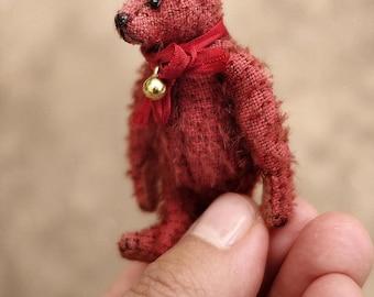 Little Ted, Mini Miniature 6.5 cm Red Mohair Artist Teddy Bear by Aerlinn Bears