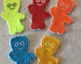 Embroidered Sour Patch  Kids  Patch Iron on Patch  Sew on Patch Red  Yellow Blue Green Orange sour kids Set of 5 patches party favor