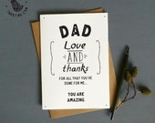 Thank you Dad greeting card. Wedding card for dad. Father Love and thanks. DC439