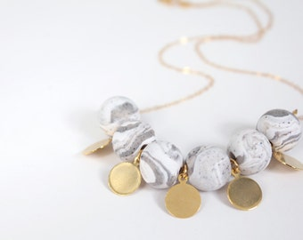Grey Swirl Clay Bead Necklace / Polymer Clay Bead Necklace / Grey / Gold / Jewelry Under 50 / Gifts for Her